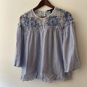 BCBG Max Azria Lace Embroidered Striped Top XXS